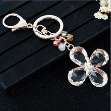 Hot sale fashion k9 crystal four leaf clover keychain for promotional gifts