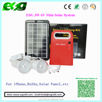 Energy saving high power 3w portable mini solar system with mobile charger and USB