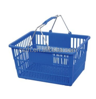 RH-BPH22-3 22L double metal handle plastic carry shopping basket Best Selling Supermarket plastic Shopping Basket