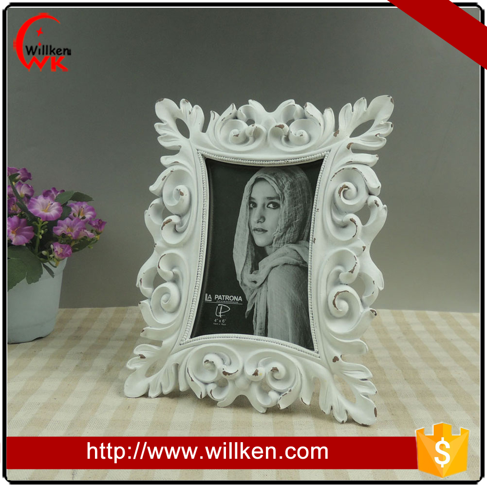 China cheap baroque white 4x6 picture frames with high quality