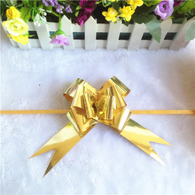 Wedding decorative gold matte metallic gift wrapping butterfly pull bow