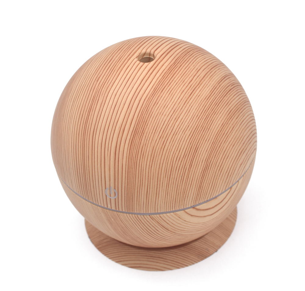 2018 New Idea Round Ball Design Wood Grain Mini USB Ultrasonic Aromatherapy Air Humidifier with pallet