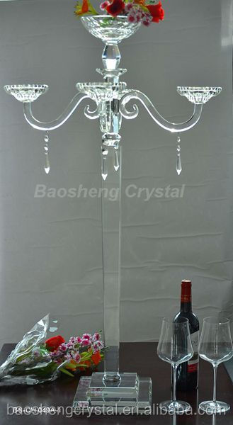 Hot ! Tall 5 Arms Crystal Chandelier Candle Holders & Candelabra with bowls for flowers (BS-CH049)