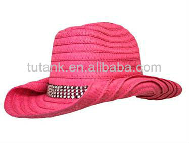 Fuchsia Rolled Brim Sewn Braid Western Cowboy Hat With Rhinestone Band