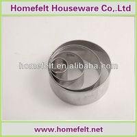 Hot sale and low price roundness stainless steel cookie cutter/cake mold 4 sizes of set