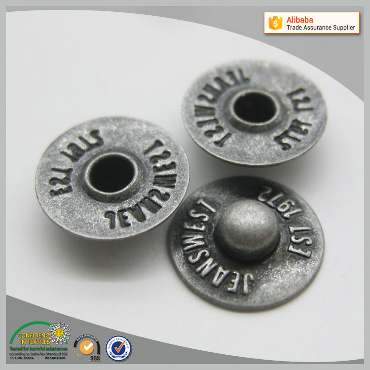 nickel free 10mm logo metal brass nipple rivet for jeans
