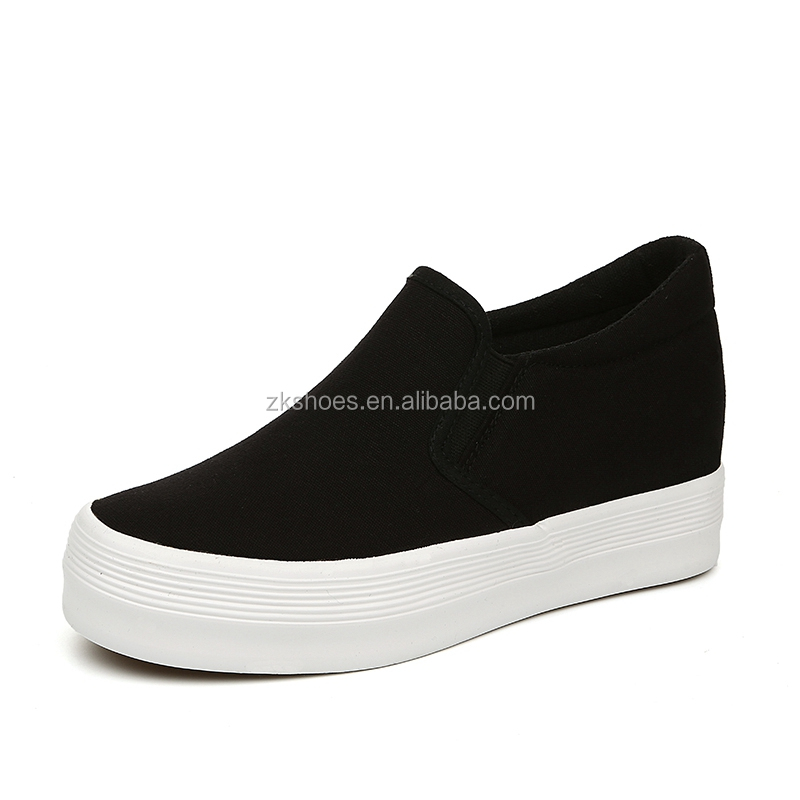 Flat Rubber canvas shoes white sneakers for woman China factory