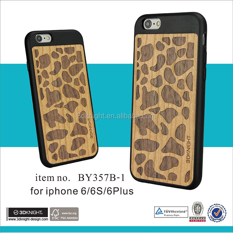 Unique Luxury Carved Wood Hard Wooden Protector Back Case wooden bumper case for iphone 6s