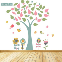 2053 customize designs adhesive clear Vinyl colorful tree cartoon wall sticker
