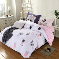 100% Cotton Jersey Bedding Set 4 Piece Duvet Cover/Bed Sheet/Couple Pillow Cases BS430