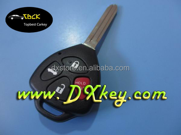 Factory price 4 button remote key 314.4 mhz/4D67 chip TOY43 FCC: HYQ12BBY for toyota camry smart key