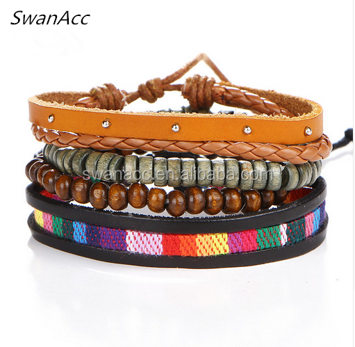 4PCS Vintage Men Bracelets & Bangles Punk Handmade Cuff Leather Bracelet Woven Wristband Jewelry