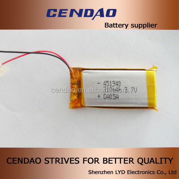Newest 3.7V li-ion battery cell dimension 451940 lithium-ion polymer battery