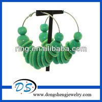 New design charming wooden beads hoop earrings