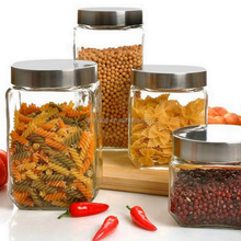 China supplier square food grade glass storage packaging jar, glass herb storage jars for sale