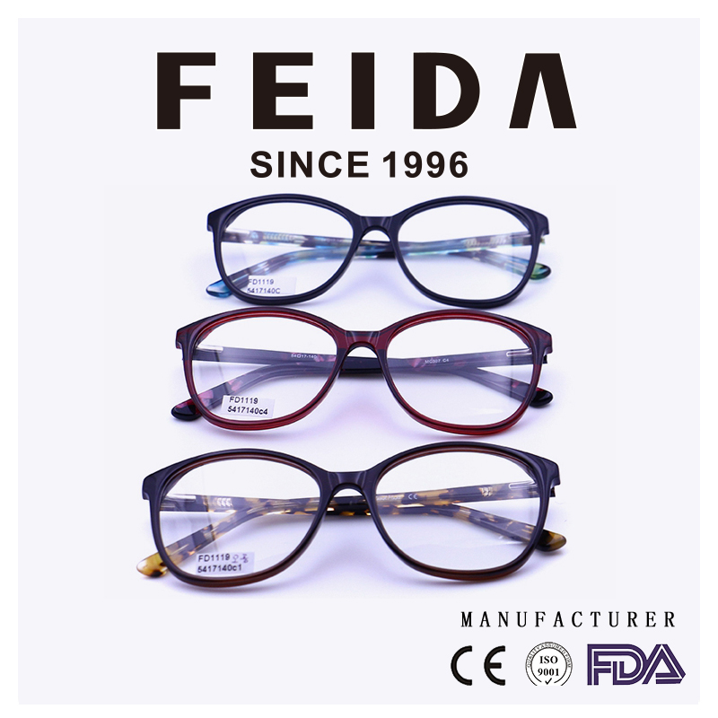 FD1119 Fashion acetate optical frames eyeglasses, custom 2017 ladies acetate spectacle frames