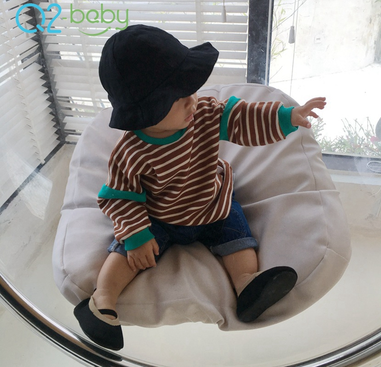 Q2-baby Bulk Buying Autumn Baby Clothes Hoody Plain Striped Toddler Boy Hoodies