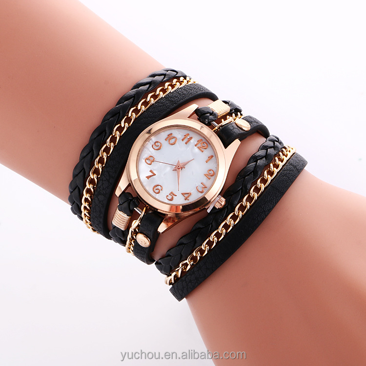 hot sell custom logo leather quartz lady bracelet watches oem
