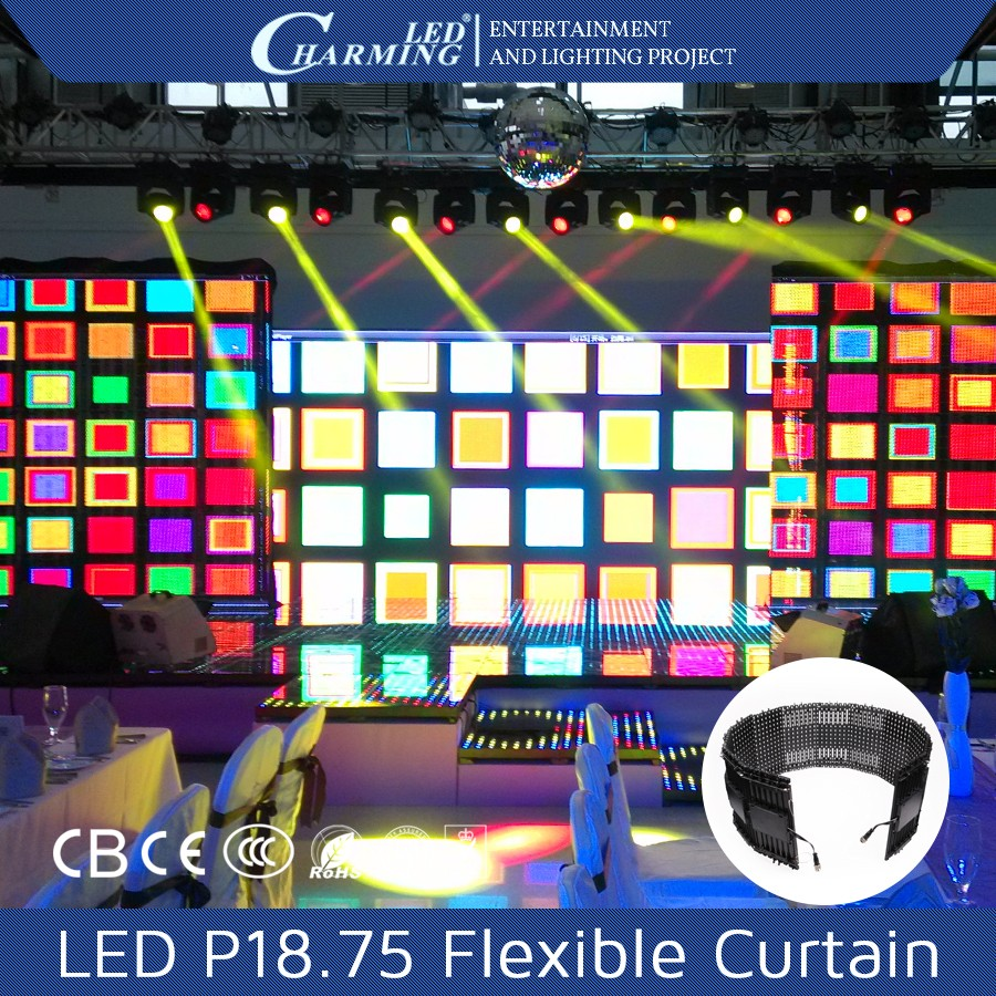 P18.75 Rental stage led display P18.75 curtain stage backdrop cortina de led