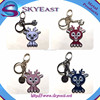 New Design Colorful Metal Key Chain with Enamel Charms and Hooks