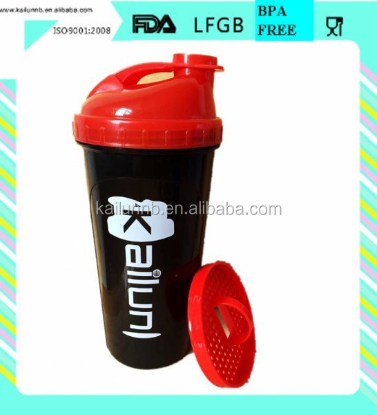 Gym supplements shaker bottle made in food grade and bpa free plastic