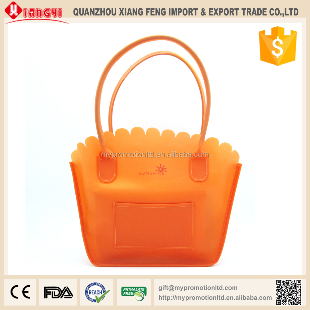 High quality Silicon feeling PEVA lady hand bag with pocket