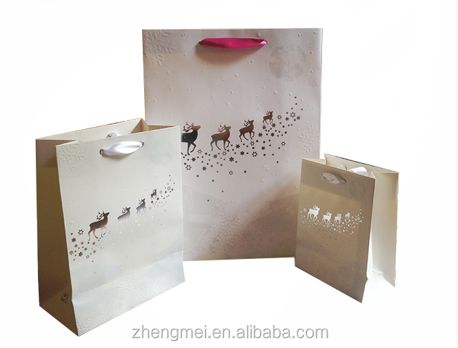 Eco-friendly Custom Simple Noble White Paper gift Bag
