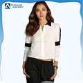 OEM ladies short shirt designs high quality polyester/cotton white long sleeve crop top