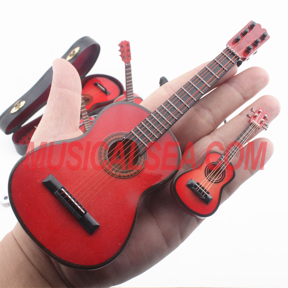Miniature Wooden red guitar Xmas ornament musical instrument wooden crafts