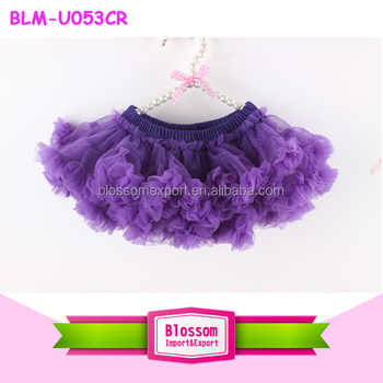 Purple baby girls bloomers with tutu skirts candy color fluffy chiffon ruffle tutu bloomers for kids