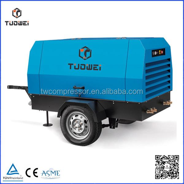 Portable Diesel 145psi screw air compressor used for oil-gas project