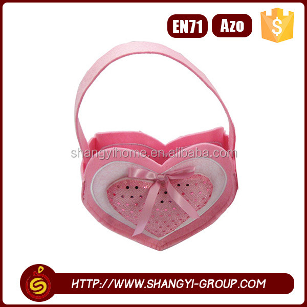 Hot sale mini cute girls Valentine's Day polyester felt ribbon tie gift bags