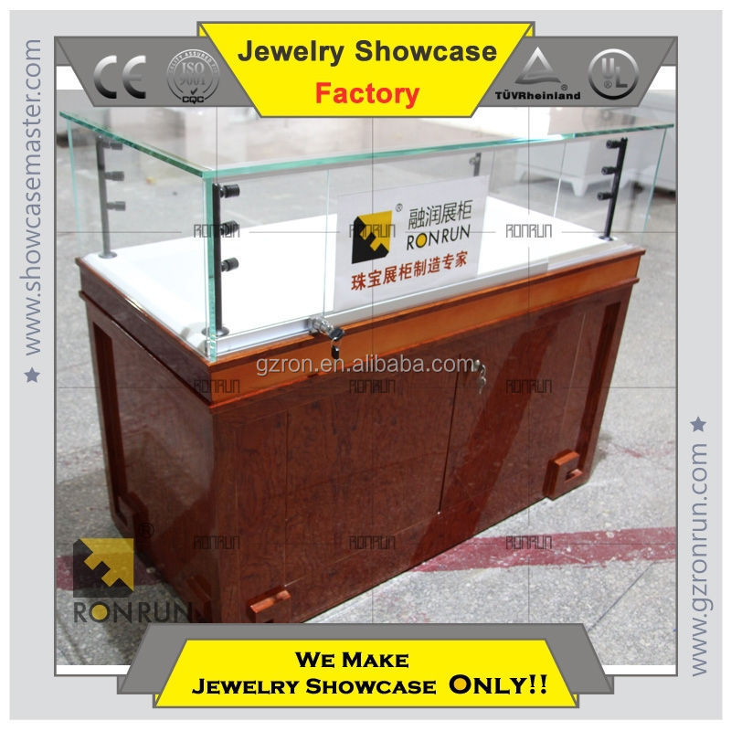 Jewelry shop baking wooden jewelry display case with led lights for sales