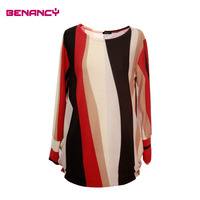 striped fashion top printing women blouse wholesale muslin tunic