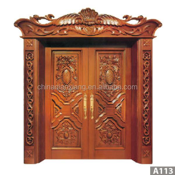 Latest teak wood front door design buy teak wood front door - Fireproof Sleek Design Double Teak Wood Main Door With