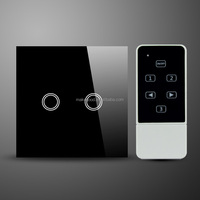 UK standard Smart Home 2 gang touch screen wall switch wireless remote light switch