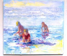 Wholesale Wonderful Landscape Beach Oil Painting Children Playing Oil Painting On Canvas For Living Room Decoration