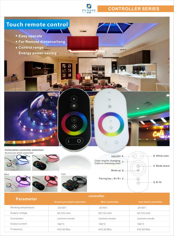RGB bluetooth led controller 12-24V 12A