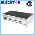stainless steel gas char rock broiler with 4 burners and independent manual control