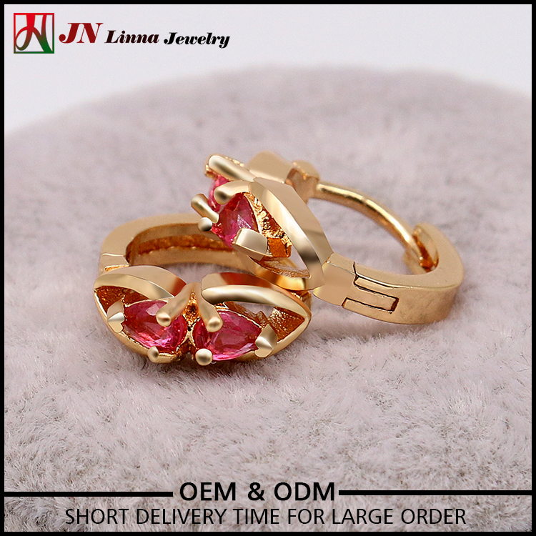 JN1018 free sample latest products graceful fashion design copper jewelry hoop two red heart earrings