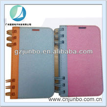 Unique notebook style leather case for samsung note 3 natural silk lines leather for samsung note 3