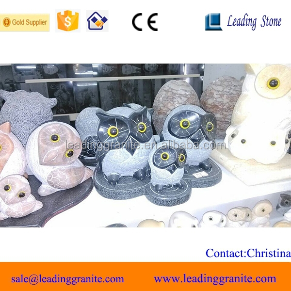 Cute table natural stone owl family sculpture