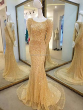 most popular design long sleeve luxury full beaded sequin dubai evening dress #OE1100