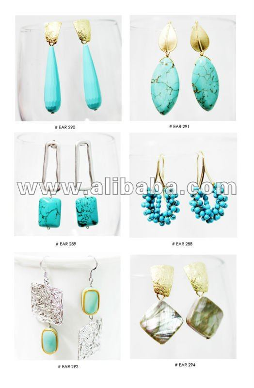 TURQUOISE DANGLE GOLD SILVER EARRINGS FASHION TRENDY JEWELRY 2013 FOR WOMENS