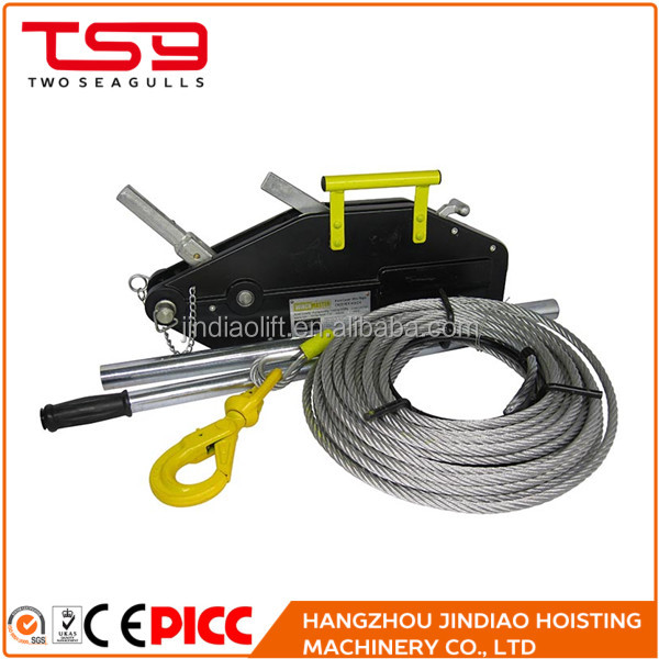 Light weight portable pulling wire rope hoist for building equipment