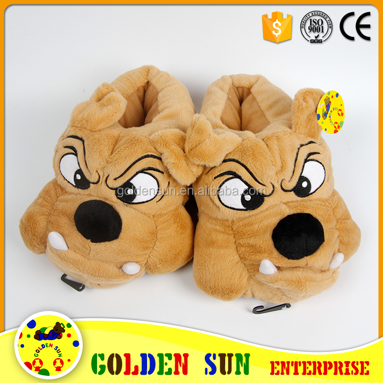 Fashion custom cartoon dog plush slippers women household winter slipper