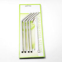 Eco-friendly 6mm bend straw 4+1 blister card packing stainless steel drinking straw metal straw