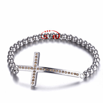 Cross Bangle Stainless Steel Bead Bracelets Fashion Jewelry Vogue Gift Jewelry For Women