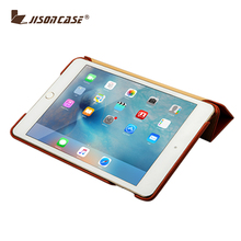 Jisoncase High Quality Colorful Patterns genuine Leather Flip Case Cover for iPad Mini 4 with Stand function