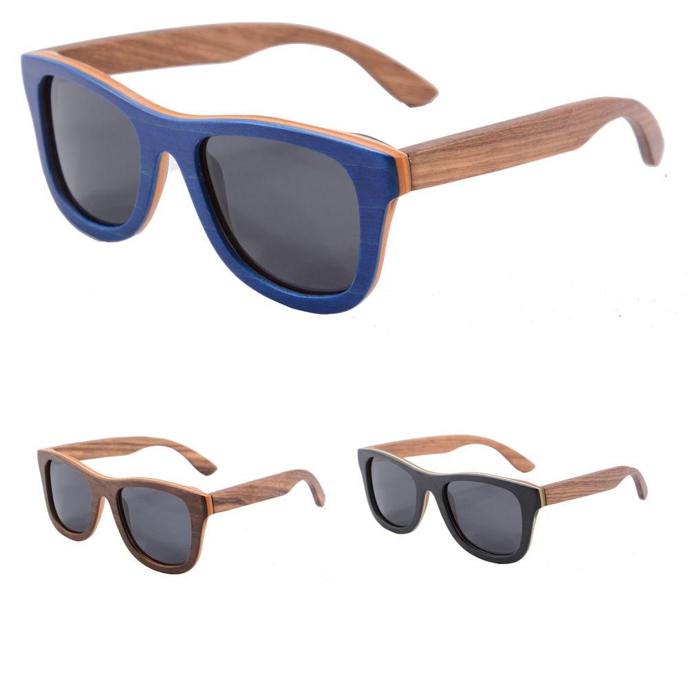 Custom Engraving Logo Recycled Skateboard Wood Sunglasses ...